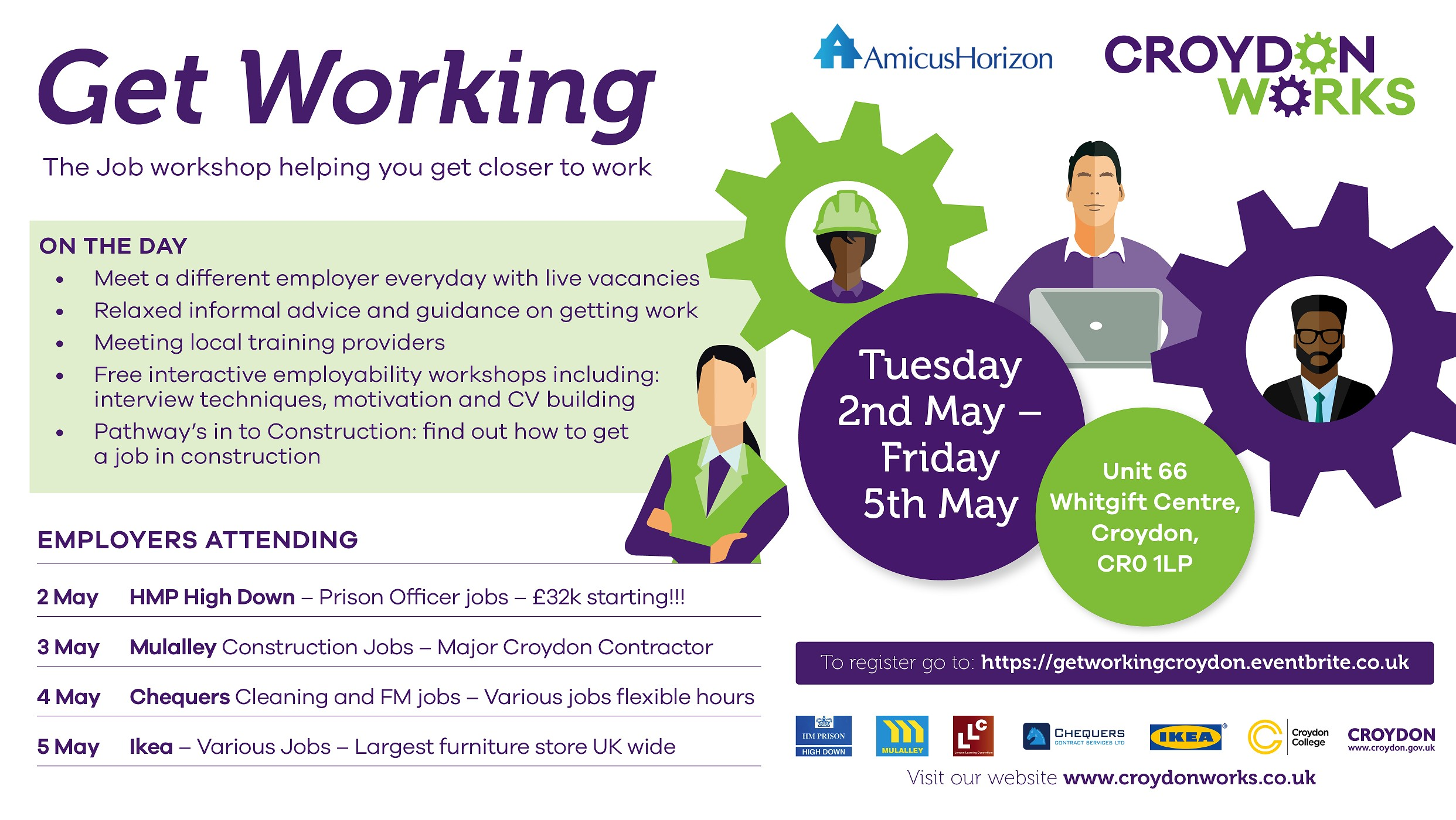 "Croydon Works to host ""Get Working"" shop Tuesday 2nd May - Friday 5th May"